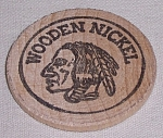Click to view larger image of Advertising – Wooden Nickel – Indian Head	/ Facing Left (Image1)