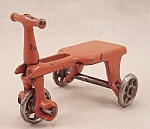 Click here to enlarge image and see more about item TE1529:  Kilgore, Cast Iron, Dollhouse Furniture, Orange Scooter, Tri Cycle - No. T-19 Kids Kar