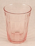 Click here to enlarge image and see more about item TE1626: Pink Depression  Glass Tumbler - Pillar Optic � Logs � Log Cabin