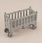 Click here to enlarge image and see more about item TE1628: Kilgore -  Cast Iron – Dollhouse Furniture – Baby Crib / Cradle- Bassinet