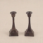 Click here to enlarge image and see more about item TE1672: Doll House Furniture - Candle Pair – Metal Candlesticks - A