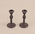 Click here to enlarge image and see more about item TE1674: Doll House Furniture -  Candle Pair � Metal Candlesticks - C
