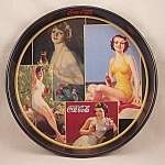Click here to enlarge image and see more about item TE1786: Advertising - Coke / Coca –Cola  Tray / Round Tray