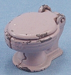 Click here to enlarge image and see more about item TE2045: Kilgore, Cast Iron, Dollhouse Furniture, Commode, Lavender Toy Flush Seat