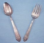 International Silver � Royal Saxony � Silverplate � 1935 � Meat Fork & Serving Spoon