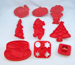 7 - Tupperware � Red Figural Cookie Cutters � Holiday / Occasion