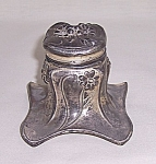 Click here to enlarge image and see more about item TEink18: Silver Plated Art Nouveau Inkwell, Jennings Brothers