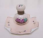 Hand-painted Porcelain Inkwell on Tray