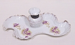 Click to view larger image of Austrian Hand-painted Porcelain Inkwell with Tray (Image1)