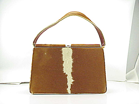 VINTAGE REAL BROWN COW HIDE LEATHER PURSE HANDBAG WITH STRIPE (Image1)