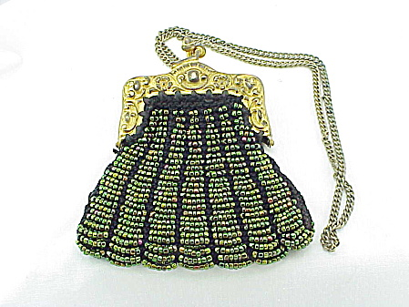 ANTIQUE BOSTONIA GERMAN SILVER SMALL IRIDESCENT GLASS BEADED PURSE (Image1)