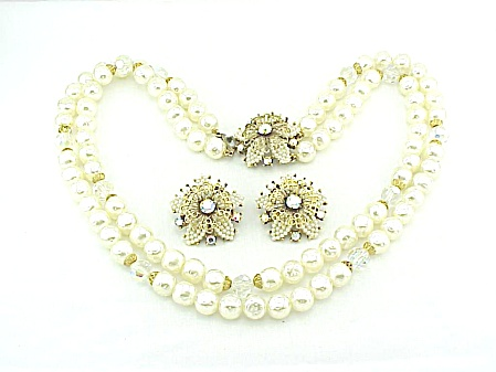 Vintage Selini Selro Rhinestone And Faux Pearl Necklace Earrings Set