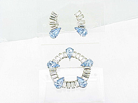 Vintage Carl-art Sterling Silver Blue Rhinestone Brooch Earrings Set