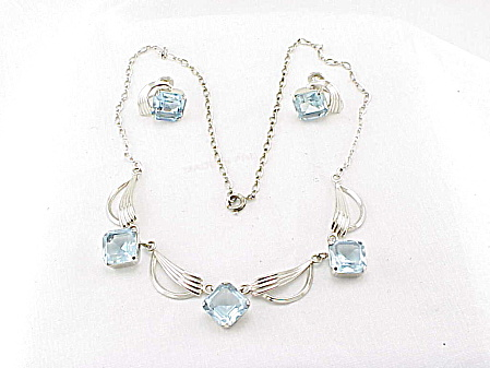 Loran Sim Sterling Silver Blue Rhinestone Necklace Earrings Set