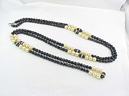 Vintage Black Glass, Pearl And Rhinestone Bead Flapper Necklace