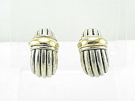 Costume Jewelry - Two Tone Gold And Silver Clip Earrings