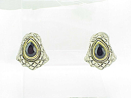 COSTUME JEWELRY - GOLD & SILVER BLACK RHINESTONE PIERCED EARRINGS (Image1)