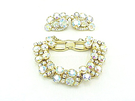 VINTAGE COSTUME JEWELRY - JULIANA GOLD AURORA BOREALIS RHINESTONE BRACELET & EARRINGS SET (Image1)