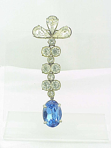 VINTAGE COSTUME JEWELRY - LONG DANGLING BLUE & CLEAR RHINESTONE BROOCH (Image1)