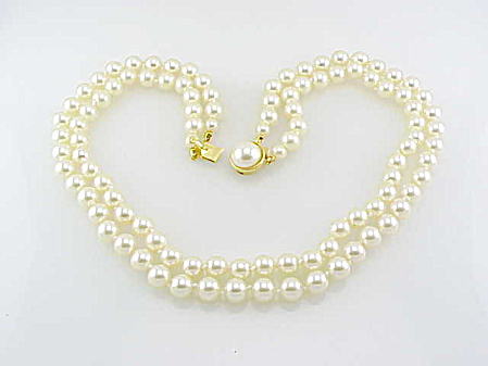 Vintage Costume Jewelry - 18 Inch Double Strand Faux Pearl Necklace