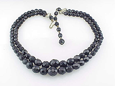 Vintage Laguna Double Strand Black Faceted Glass Bead Necklace