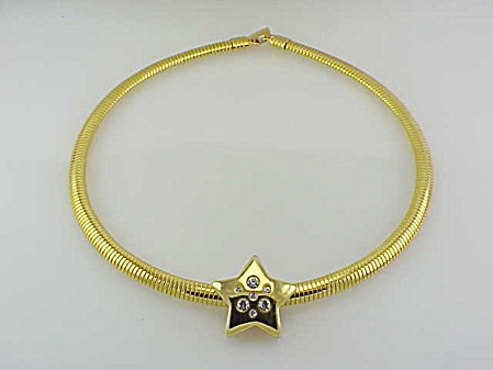 COSTUME JEWELRY - GOLD OMEGA CHOKER NECKLACE WITH RHINESTONE STAR SLIDE (Image1)