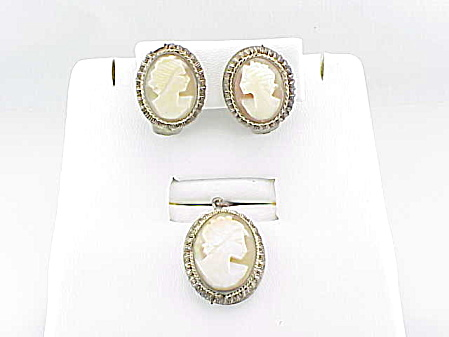 VINTAGE COSTUME JEWELRY - 800 SILVER REAL SHELL CAMEO PENDANT & CLIP EARRINGS SET (Image1)