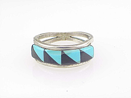 Vintage Native American Sterling Silver Turquoise Inlay Ring
