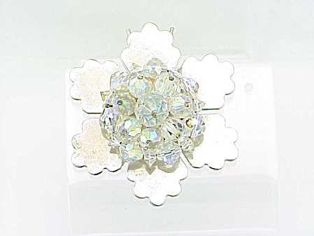 VINTAGE COSTUME JEWELRY - AURORA BOREALIS CRYSTAL SNOWFLAKE HAIR BARETTE OR ORNAMENT (Image1)