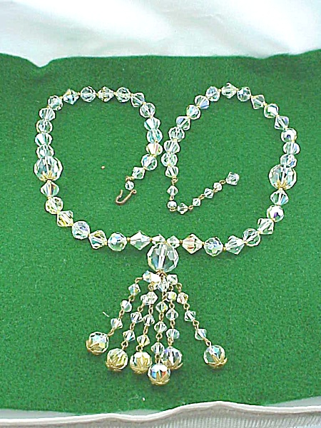 VINTAGE LONG AURORA BOREALIS CRYSTAL GLASS BEAD NECKLACE WITH TASSEL (Image1)