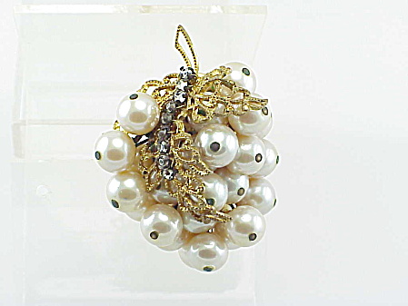 Vintage Unsigned Haskell Faux Pearl And Rhinestone Brooch