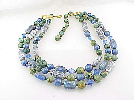 Vintage 3 Strand Blue And Green Art Glass Bead Necklace