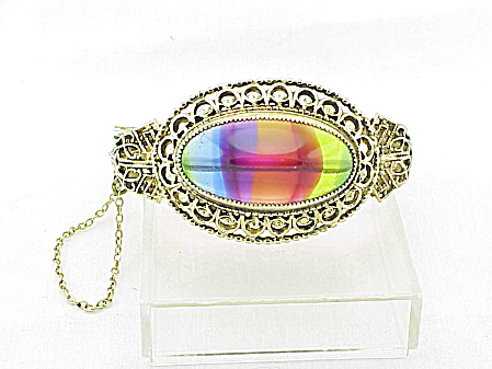 RARE VINTAGE WHITING & DAVIS RAINBOW WATERMELON GLASS STONE BRACELET (Image1)