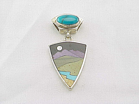 Native American Sterling Silver Turquoise Inlay Pendant Signed Mj