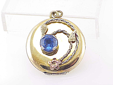 VINTAGE BLUE RHINESTONE GOLD TONE LOCKET PENDANT WITH BABY PICTURE (Image1)