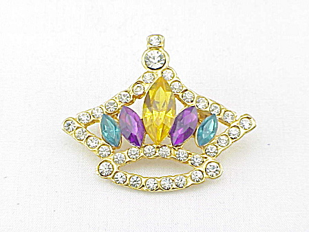 VINTAGE COSTUME JEWELRY - MARDI GRAS YELLOW GREEN PURPLE RHINESTONE CROWN BROOCH (Image1)