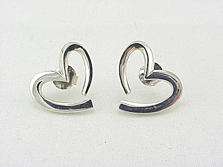 STERLING SILVER OPEN HEART PIERCED EARRINGS SIGNED M (Image1)