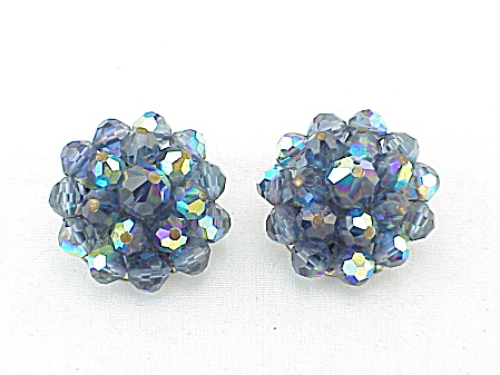 Vintage Laguna Dark Blue Aurora Borealis Crystal Clip Earrings Image1