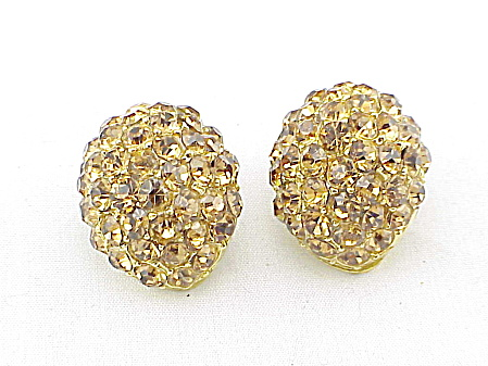 Vintage Jewelry - Pale Amber Brown Pave Rhinestone Clip Earrings
