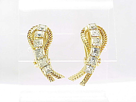 VINTAGE COSTUME JEWELRY - HOBE' GOLD TONE RHINESTONE CLIP EARRINGS (Image1)
