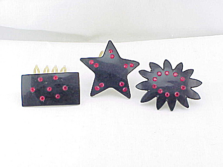 3 VINTAGE BLACK WITH RED RHINESTONES HAIR ORNAMENTS OR COMBS (Image1)