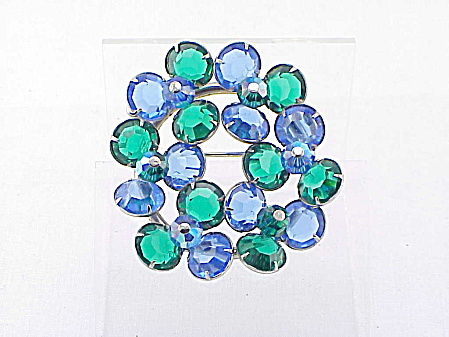 Vintage Juliana Blue And Green Glass Rhinestone Brooch