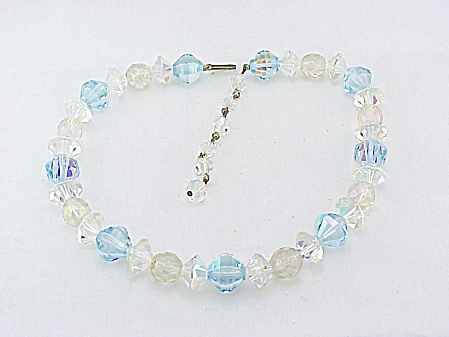 Vintage Blue And Clear Aurora Borealis Crystal Bead Necklace
