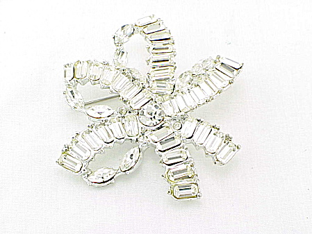 Vintage Large Brilliant Clear Rhinestone Double Bow Brooch