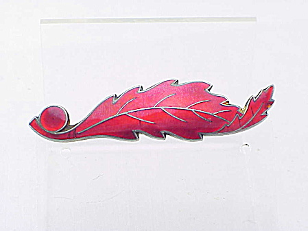 Antique Victorian Sterling Silver With Red Enamel Leaf Brooch