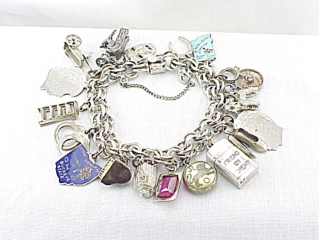 Vintage Jb Sterling Silver Charm Bracelet With 19 Charms - 69 Grams