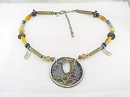 Costume Jewelry - Chico's Bead Necklace With Large Enameled Pendant