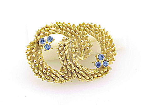 Vintage Hobco Blue Rhinestone Double Circle Brooch