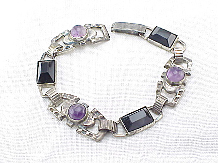 Vintage Early Amethyst And Onyx Bracelet Signed Mexico Silver