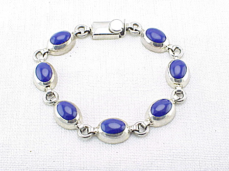 MEXICAN STERLING SILVER & LAPIS LAZULI BRACELET SIGNED TC-179 (Image1)